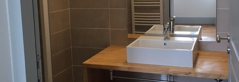 Aménagement de salle de bains de l'un des appartements de la Chartreuse - Villenave d'Ornon